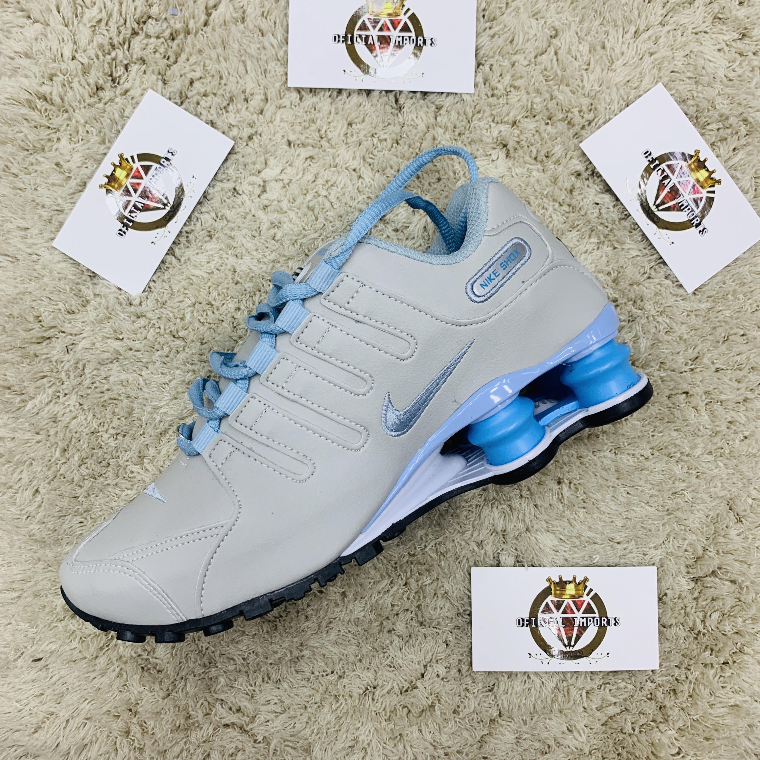 lotería Estrella Mal funcionamiento  Nike shox 4 mola (cinza e azul bebê ) - Oficial Imports